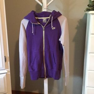 NIKE Purple & Light Gray Hoodie Sweatshirt Size S